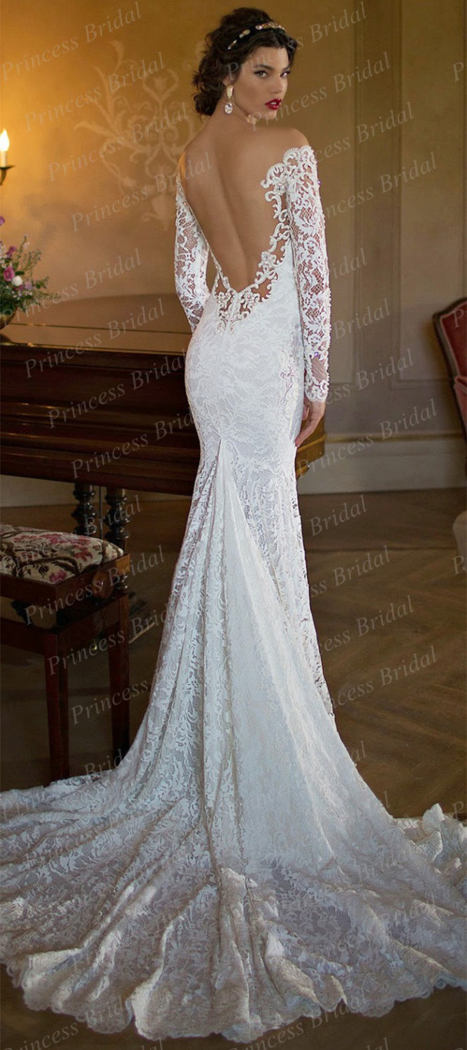Long sleeve backless wedding dress for Lace sleeve backless wedding dress