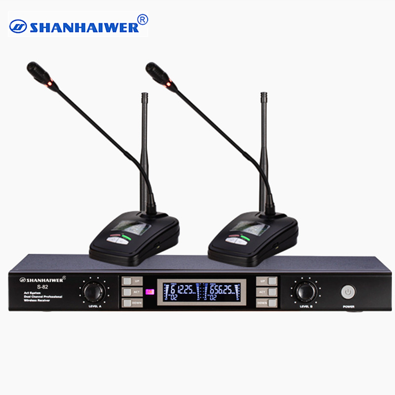 все цены на Wholesale factory directly provide Dual channel gooseneck UHF Wireless Microphone for meeting 100 frequency points optional онлайн
