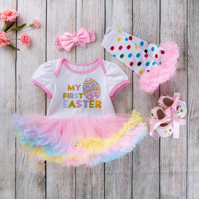 4 piezas recién nacido bebé niñas princesa huevos de Pascua carta estampado tutú vestido conjunto ropa de bebé niña 2019 nuevo
