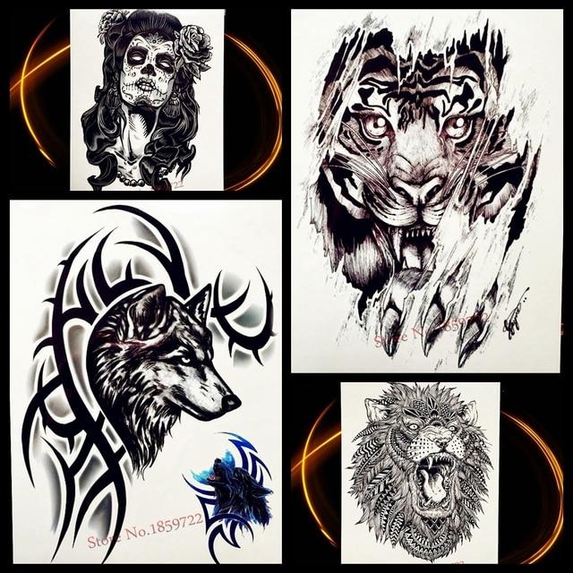Lobo Con Zarzas Diseño Temporal Tatuaje Adhesivos Para Hombres