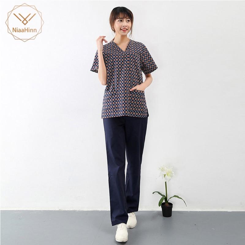 New Summer Women Hospital Medical Scrub Clothes Set Dental Clinic And Beauty Salon Nurse Uniform Fashionable Design Slim Fit