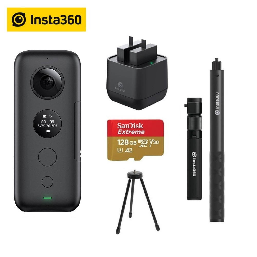 Insta360 ONE X Action Camera VR Insta 360 Panoramic Camera For IPhone & Android 5.7K Video 18MP Photo Battery Charger Bundle