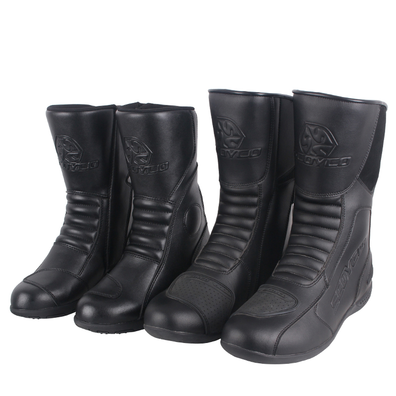 цена на SCOYCO men women motorcycle racing boots motorbike Microfiber leather riding shoes Moto couple Motocross Waterproof boots