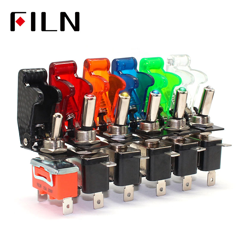 FILN  Rocker Switch Auto Car Boat Truck Illuminated Led Toggle Switch With Safety Aircraft Flip Up Cover Guard 12V20A ASW-07D