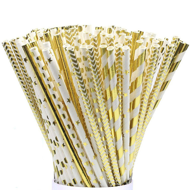 25 unidades/pacote descartável de chá de leite Bebida palhas canudinhos de papel da folha de ouro para o aniversário de casamento decoração de festa activitie