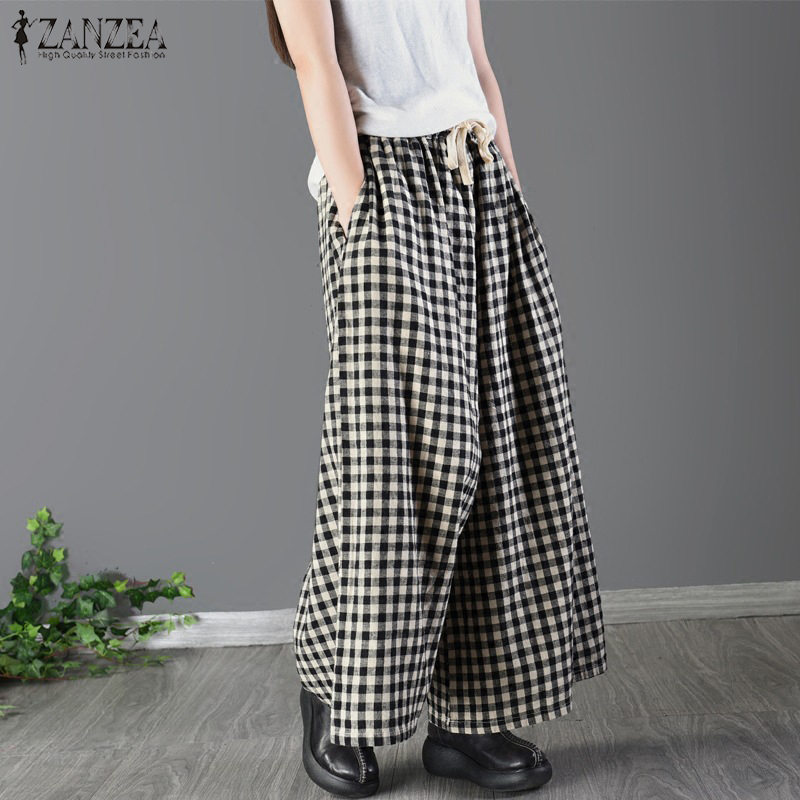 ZANZEA   Wide     Leg     Pants   Women Plaid Pantalon Casual Elastic Waist Office Check Trousers Cotton Linen Long Harem   Pants   Streetwear