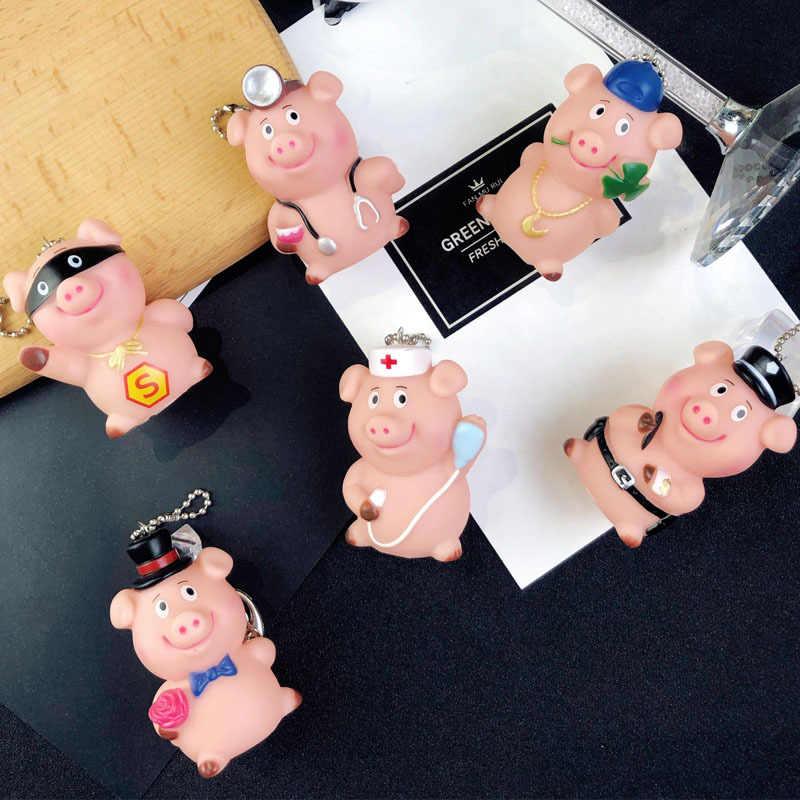Moda Bonito Dos Desenhos Animados Porco Chaveiro de Couro Corda Chave Cadeias Anel Chave Animal Titular Saco de Pele para As Mulheres Menina Pingente A088