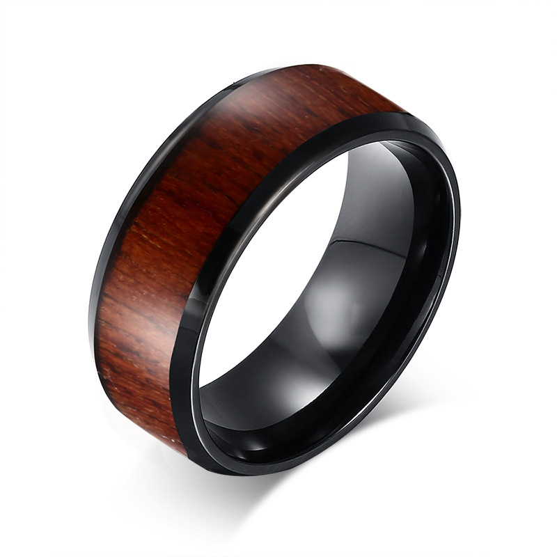 SECSEAL 8mm red wood grain black tungsten rings for men jewelry high quality wholesale