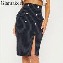 e07002edc8 Glamaker Navy stripe dividida alta cintura sexy Falda midi bodycon falda  mujeres otoño partido elegante invierno falda bottom201.