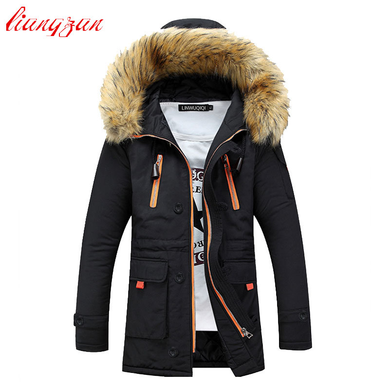 Men Winter Hooded Jacket And Coats Snow Warm Thick Down Parkas Brand Design Fashion Slim Fit Cotton Overcoats SL-M007 fashion detachable hooded thick jackets men warm winter jacket parka men 2017 loose mens coats overcoats windproof cotton parkas