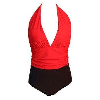 NAKIAEOI One Piece Swimsuit Plus Size Swimwear Women High Waisted Bathing Suits Beachwear Backless Halter Vintage Swim Wear 4