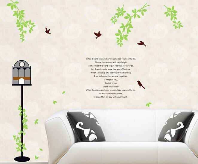 Affordable Pastoral Scenery Bird Wicker Wall Stickers Quotes And Sayings  Living Room Mural Decals Home Decor Wallpaper Ayin Wall Stickers From Home  U Garden ... Part 72