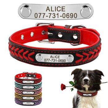 مخصص طوق كلب من الجلد شخصية محفورة جرو القط الكلب Tag طوق مع لوحة الصغيرة كلاب متوسطة وكبيرة الحجم بيغل XS-XL