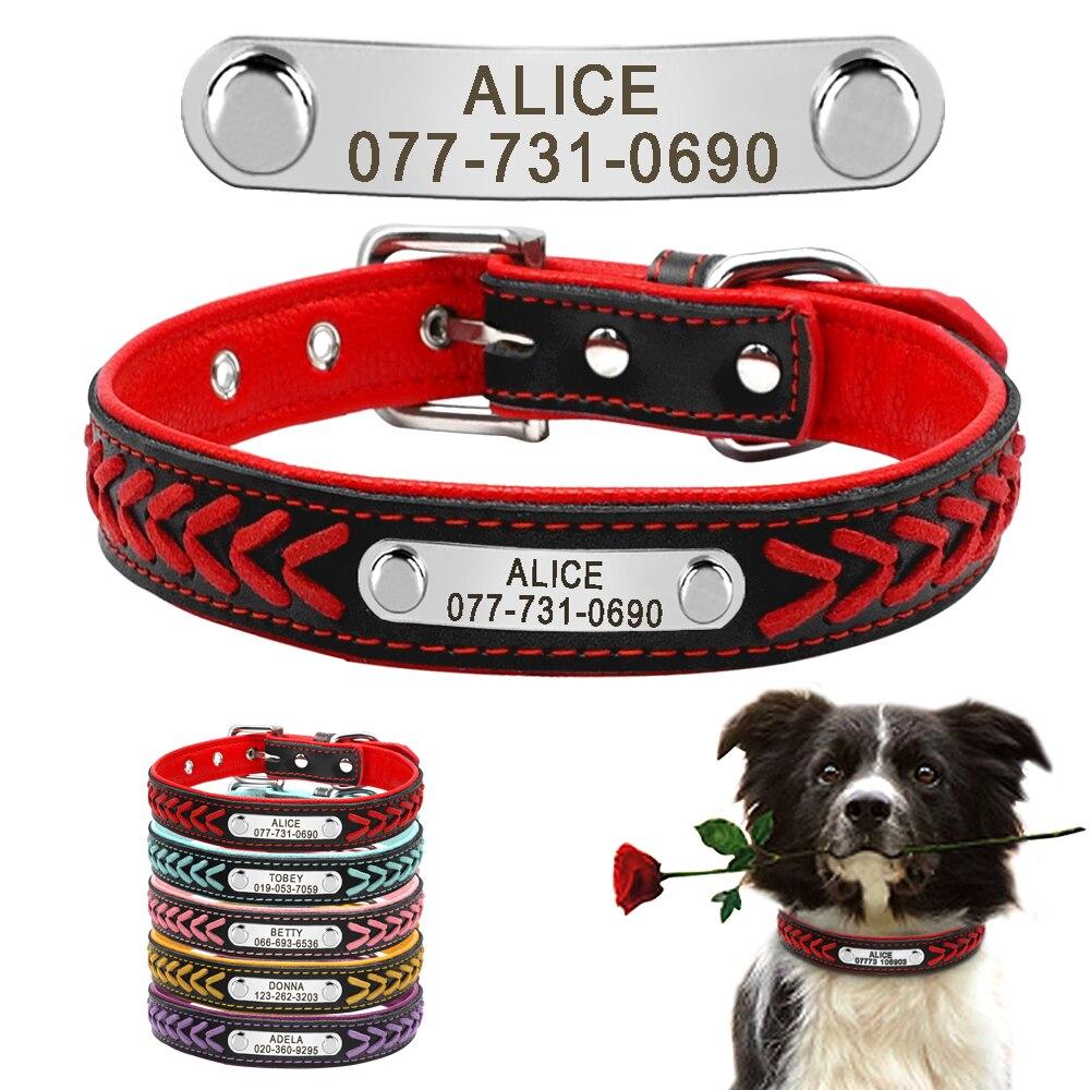 Colar gravado personalizado da etiqueta do cão do gato do filhote de cachorro do colar do cão do couro feito sob encomenda com placa de identificação para cães médios pequenos grandes beagle XS-XL