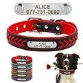 Collar de perro de cuero personalizado grabado cachorro gato perro etiqueta Collar con placa de identificación para perros pequeños medianos grandes Beagle XS-XL