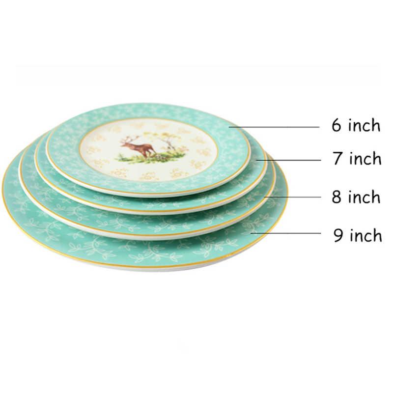 Placa de bife cerâmica porcelana bandeja redonda pintados à mão prato ilustração restaurante louça conjunto comida alce jantar bandeja 1pcs