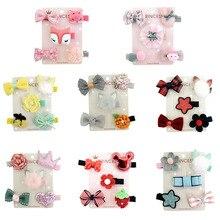 2019 new set rabbit ears hair ball hairpin 5pcs / combination children accessories