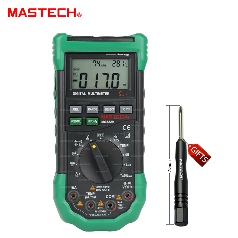 Mastech MS8229 Auto-Range 5-in-1 Multi-functional Digital Multimeter with DMM Lux Humidity,Sound Level,Thermometer mastech ms8260f 4000 counts auto range megohmmeter dmm frequency capacitor w ncv
