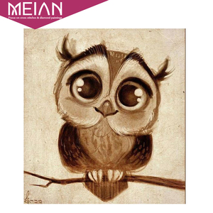 Meian Full,Diamond Embroidery,Animal,Owl,Cartoon,5D,Diamond Painting,Cross Stitch,3D,Diamond Mosaic,Needlework,Crafts,Christmas