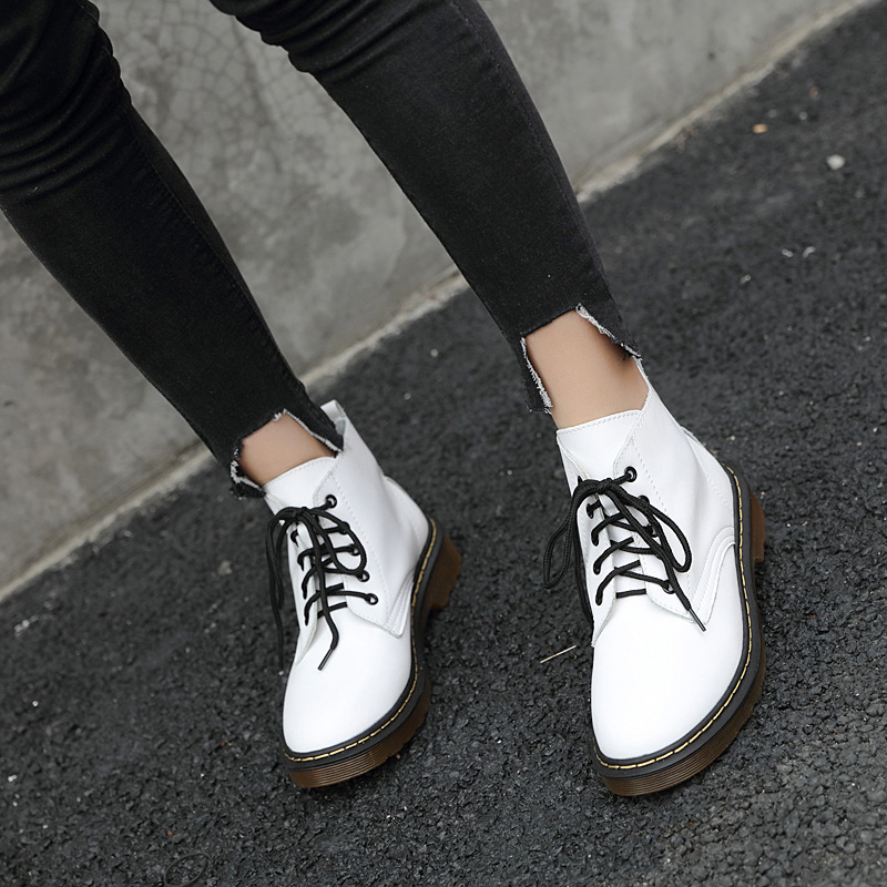 Oxford S171 noir blanc Bottes Martin Qualité Chelsea En Rond De Noir Femmes Rétro Bout Haute Lacent Cheville Style Cuir White shxBQCrdto