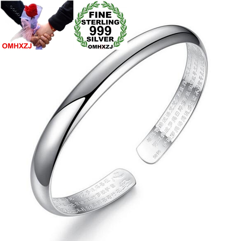 OMHXZJ Wholesale Fashion Retro Woman Child Gift Glossy Chaise Heart Sutra 999 Sterling Silver Bracelet Bangle Adjustable SZ64