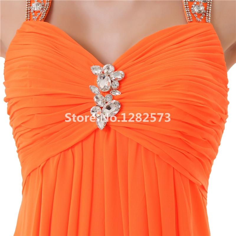 200d14aa249 Orange Plage Demoiselle D honneur Robes Cristal Pas Cher Simple En  Mousseline de Soie Demoiselle D honneur Robe Longue Partie Formelle de Robe  Chic Femmes ...