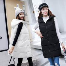 Brieuces Fashion Women Vests Waistcoat 2018 Autumn Winter Mid-long Down Cotton Padded Vest Female Sleeveless Jackets Hooded Coat цена 2017