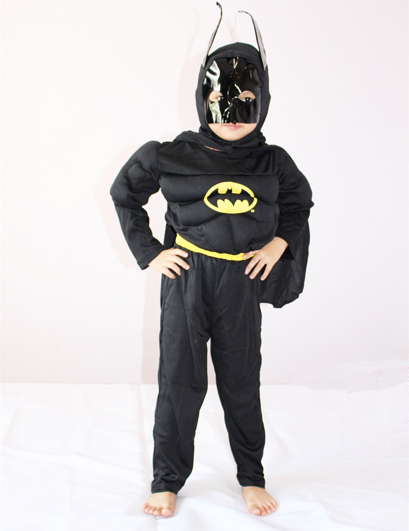 3-7Years Kids Black Batman Muscle Costume Halloween Party Costume For Boy Batman Cosplay T-Shirt Set S-XXL
