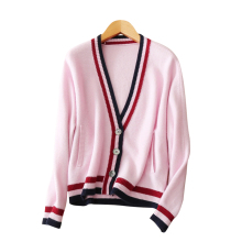 2017 Women's cardigan 100% cashmere single breasted multi color stripes decor thick cardigan sweaters with V-neck long sleeves