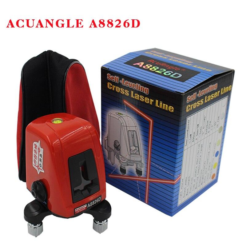ACUANGLE A8826D 360 degrés auto-nivellement Portable mini Croix Rouge Niveaux Laser Mètre 2 ligne 1 point 635nm Nivellement Instrument