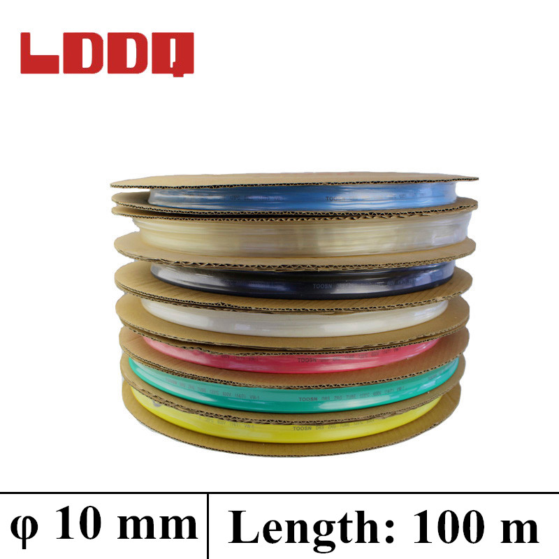 LDDQ 100m*10mm Heat shrink tubing2:1 Heat Shrink Tube Tubing 600&1000V Low pressure Heat sleeve Cable Sleeve termoretractil qed heat shrink 10mm p hs10mm