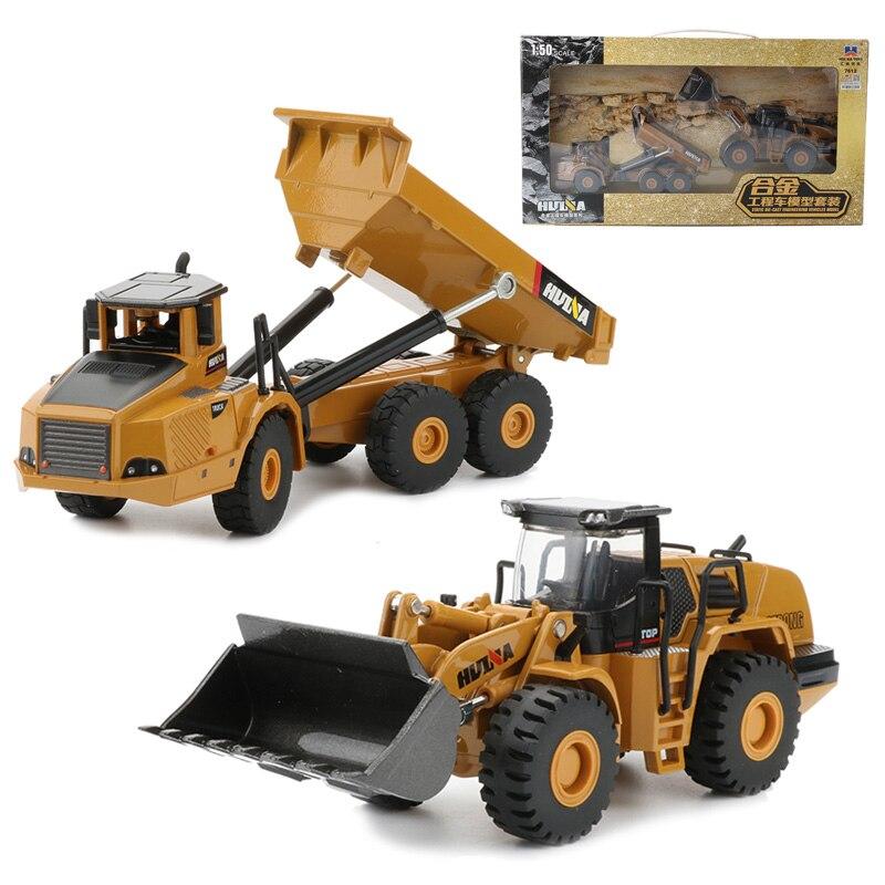 HUI NA TOYS 1:50 2pcs Engineering Trucks Set Toy Alloy Bulldozer Dumper Truck Static Models Car Toys For Boys Gift first gear 50 3246 komatsu d65px 17 bulldozer w hitch 1 50 nib toy