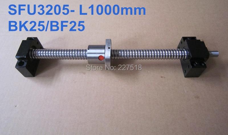 Ballscrew 3205 -L1000mm with SFU3205 ballnut with end machining and BK25 BF25 Support sfu3205 ballscrew l1000mm with ballnut bk25 bf25 support 3205 nut housing cnc parts
