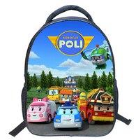 2016 Children Mini School Bags For Boys Girls 3D Cartoon Robocar Poli Schoolbag Kindergarten Baby Backpack