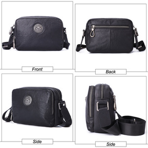 Image 4 - Flanker Mens Messenger BAG Multi function leather zipper Messenger Phone shoulder Bag business waterproof casual handbag