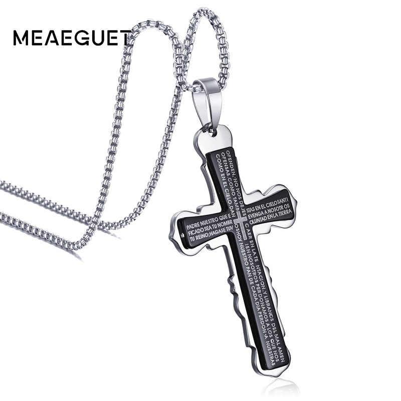 Meaeguet Vintage czarny warstwowy katolicki nieregularny krzyż naszyjnik mężczyźni stal nierdzewna jezus biblia słowa naszyjniki