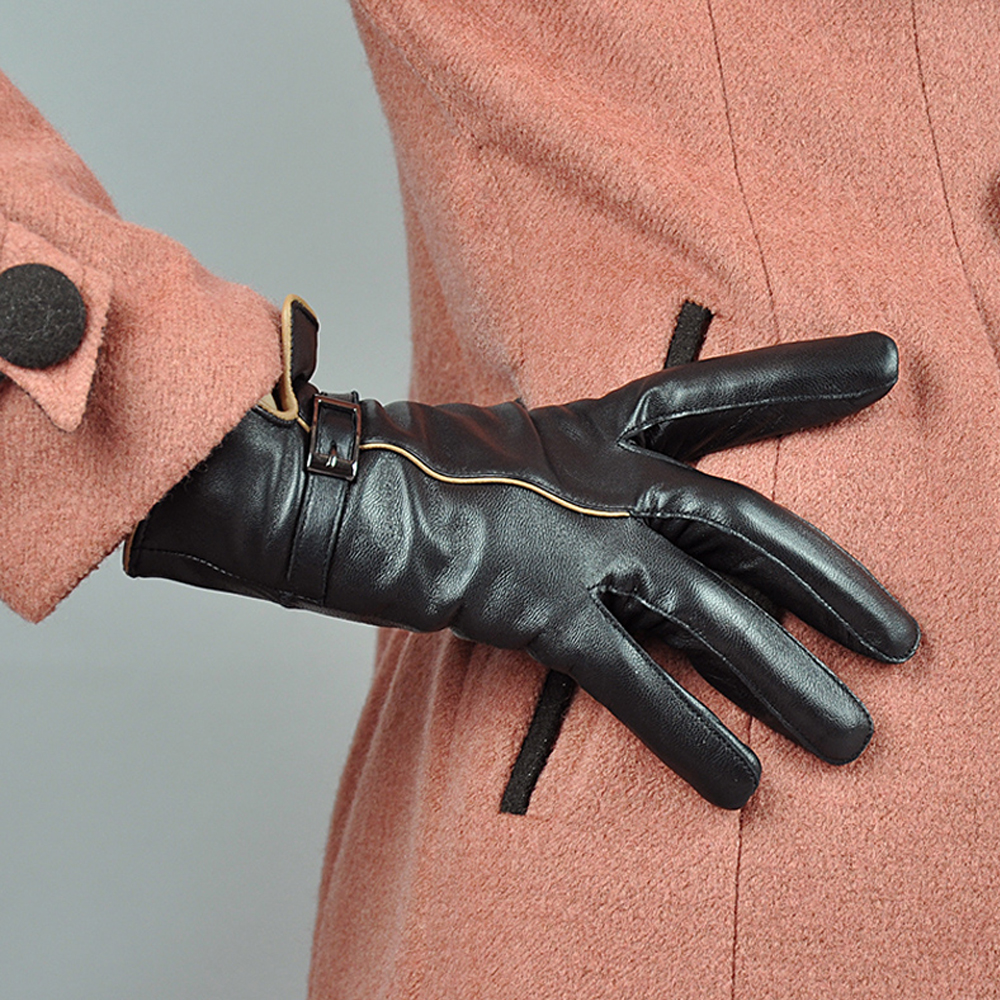 Hot Winter Genuine Leather Gloves Women 2022 Brand Sheepskin Warm Solid Color Female Real Sheep Lady Fashion Party Gloves WSR170