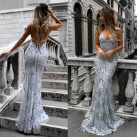 New Luxury Evening Dresses Sexy Deep V Neck Backless Abendkleider Appliques Sequined Long Formal Party Gowns Vestidos De Fiesta