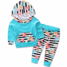 Baby Girls Boys Long Sleeve Flower T Shirts Hoodies Tops Long Pants Sets Toddler Infant Kids Striped Trousers Clothing Sets 0-2T