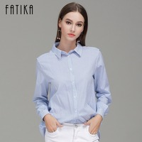 FATIKA 2017 Autumn New Fashion Women S Long Sleeve Blouses Shirts Casual Letter Embroidery Tops Striped