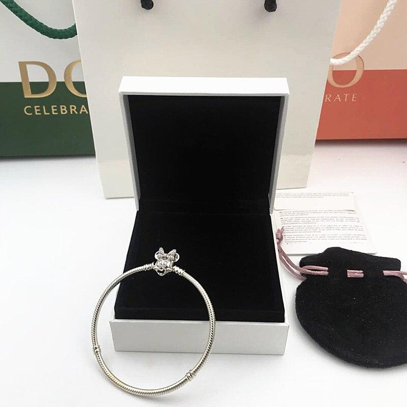2019 NOUVEAU Charme Sculpté Argent 925 bracelets perle Chatoyante Minnie Portrait Bracelet pandoras Bracelet bijoux femmes cadeaux, 1pz