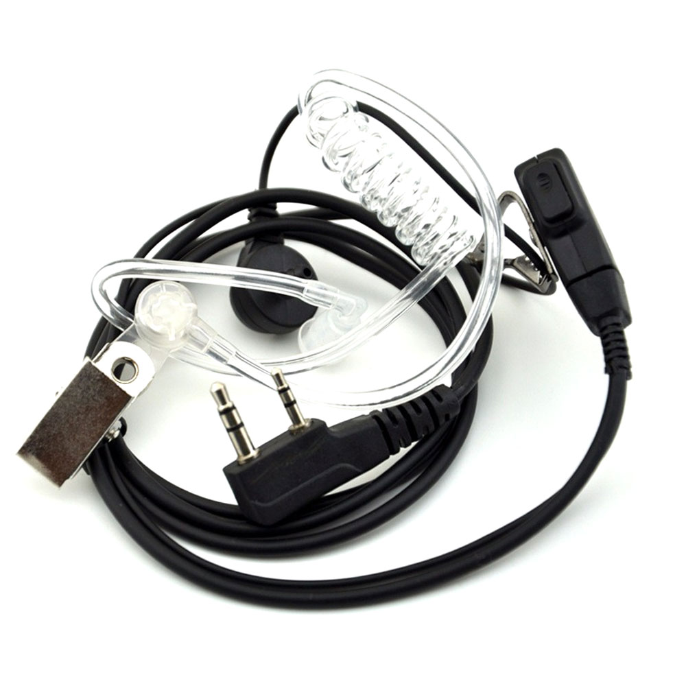 2PCS Walkie Talkie Air Acoustic Tube Earpiece Baofeng Radio Earphone 2 Pin PTT Transparent Headset Microphone K Port UV-5R