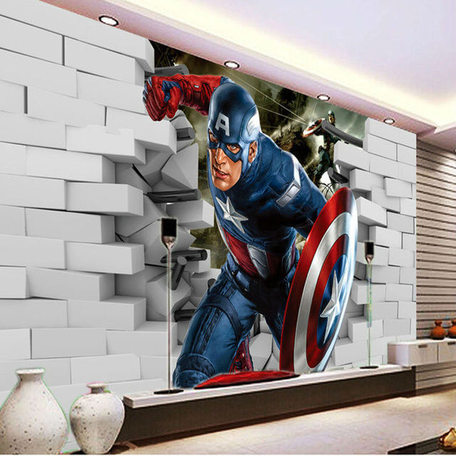 aliexpress com buy 3d captain america wallpaper avengers pics photos superhero wall murals in boys bedroom design