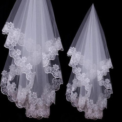 White bridal veil voile mariage 2 5 meters lace edage long wedding veil tulle wedding accessories.jpg 250x250