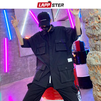 LAPPSTER Men Streetwear Pockets Cargo Shirts 2019 INS Fashions Summer Short Sleeve Black Shirts Man Japan Style Hip Hop Clothing