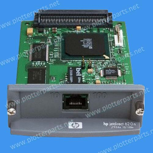Used- HP JetDirect 620n internal print server - 10BaseT and 100BaseTX LAN interface board - Plugs into peripheral EIO slot used 100