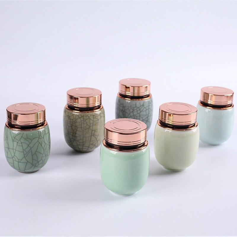 Longquan Ceramic Small Tea Storage Pot Ge Kiln Tea Accessory Tea Seal Box