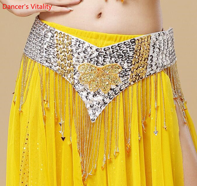 Oryantal dans kemer el yapımı çiçek Shining Sequins cıngıllı şal altın mor kırmızı mavi siyah ücretsiz kargo