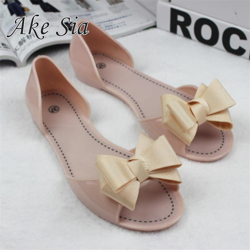 Women Jelly Sandals Beach Jelly Shoes Woman Hot Summer Butterfly-knot Slip On Flats Casual Women Shoes Sandal Flat with