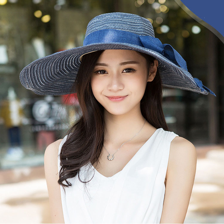 d5c2c72979b Womens holiday beach sun hats Caps 2018 Summer Cotton and linen Foldable  Floppy Sun Hats Ladies sombreros bowknot straw hat Girl-in Sun Hats from  Apparel ...